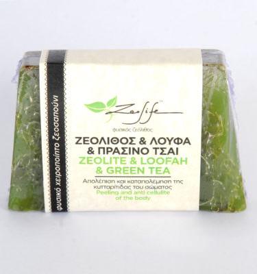 Ζεοσαπούνι ζεόλιθος, πράσινο τσάι και λούφα - 125 γραμμάρια