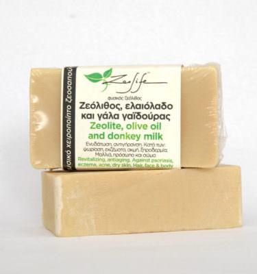 Ζεοσαπούνι ζεόλιθος, ελαιόλαδο Σαμοθράκης και γάλα γαϊδούρας - 125 γραμμάρια
