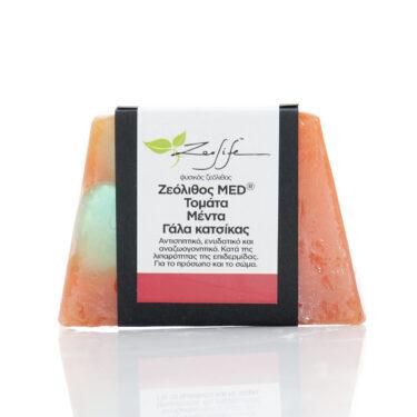 Σαπούνι με ζεόλιθο MED®, τομάτα, μέντα και γάλα κατσίκας - Αντισηπτικό, ενυδατικό και αναζωογονητικό - Κατά της λιπαρότητας της επιδερμίδας