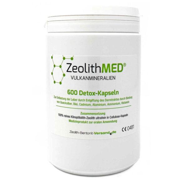 Ζεόλιθος MED® detox εξαιρετικά λεπτή πούδρα έως 10 μικρά - Κάψουλες - 600 τεμάχια