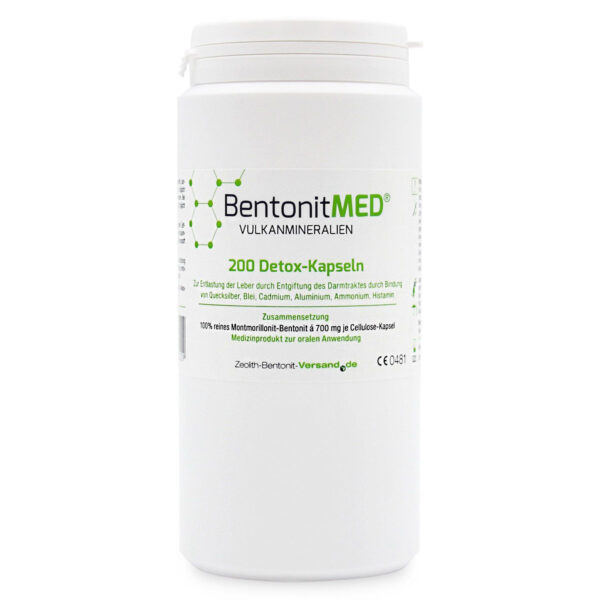 Φυσικός Μοντμοριλλονίτης Μπεντονίτης MED® detox - Κάψουλες 700 mg - 200 τεμάχια