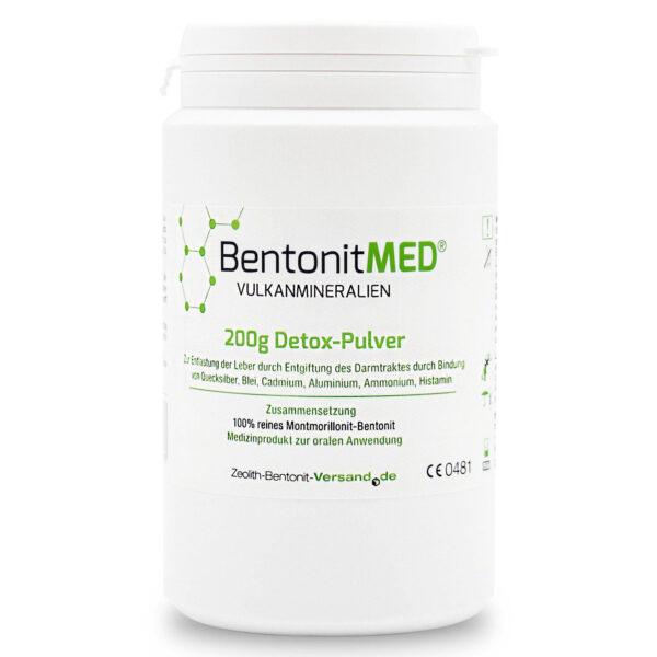 Φυσικός Μοντμοριλλονίτης Μπεντονίτης MED® detox - εξαιρετικά λεπτή πούδρα έως 16 μικρά - 200 γραμμάρια